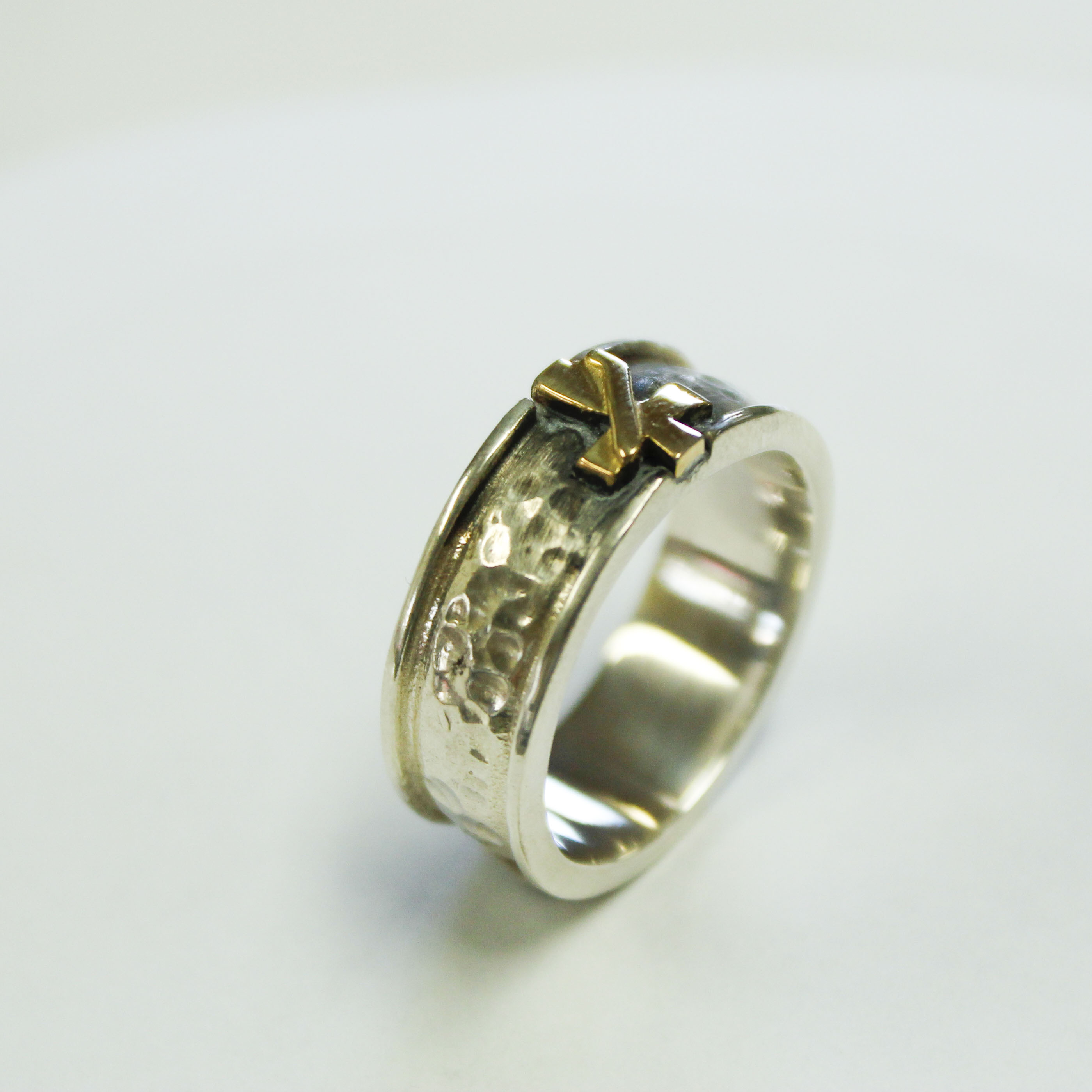 Deacon Hammered Wedding Band w Gold cross hand crafted Pax