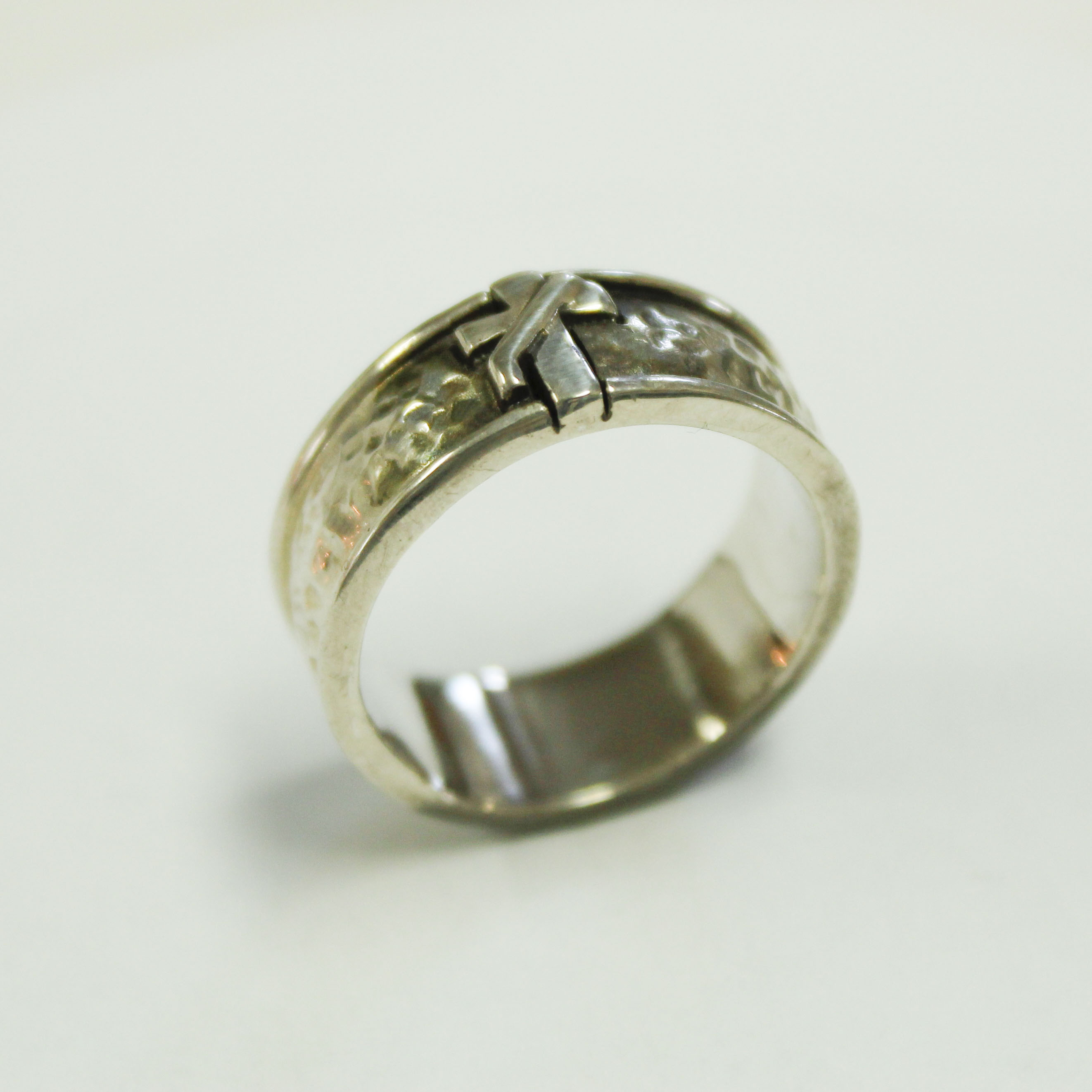 deacon hammered wedding band pax creations